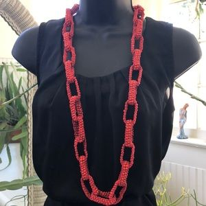 Coral Beaded Chainlink Long Necklace BOHO